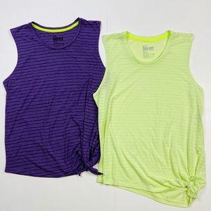 Nike Dri Fit Side Tie Top Purple Yellow Stripe S/M